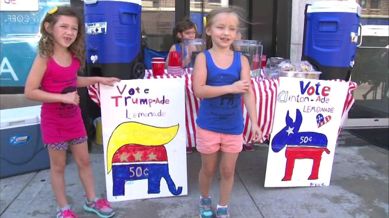 Chicago sisters use lemonade stand to take stock of presidential race