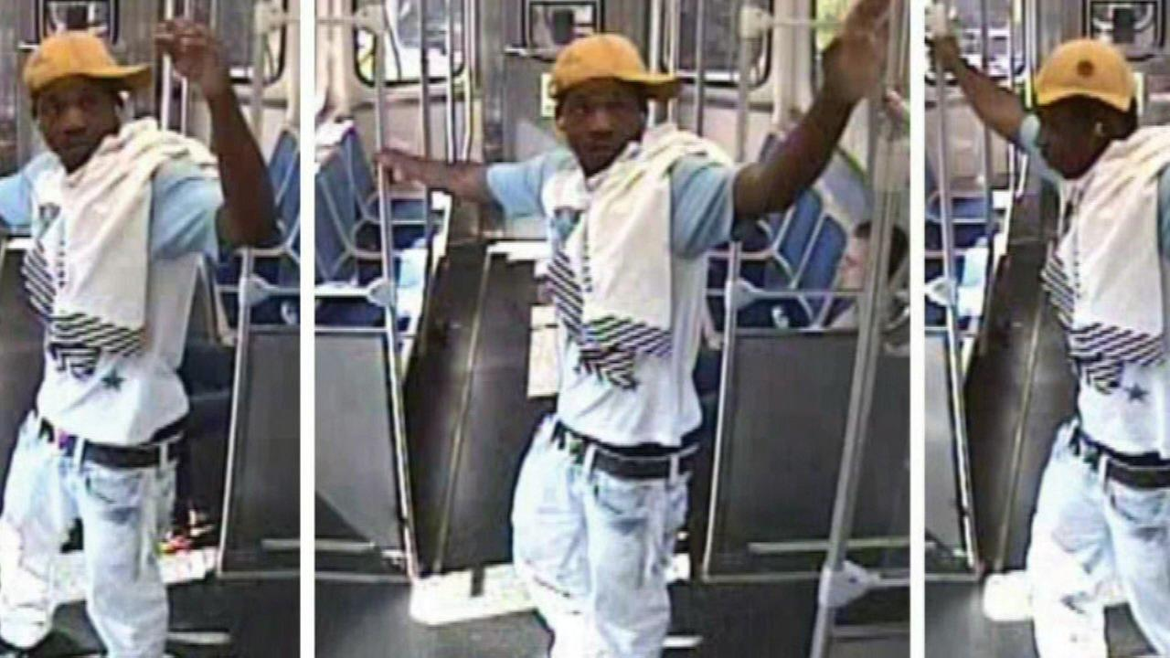 Surveillance images of a suspect in an armed robbery on the Green Line.