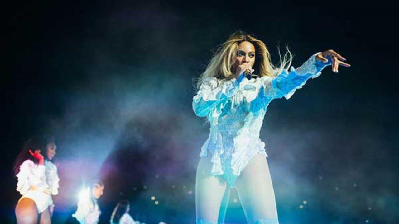 Beyonce performs during the Formation World Tour at Estadio Olimpico in Barcelona, Spain.