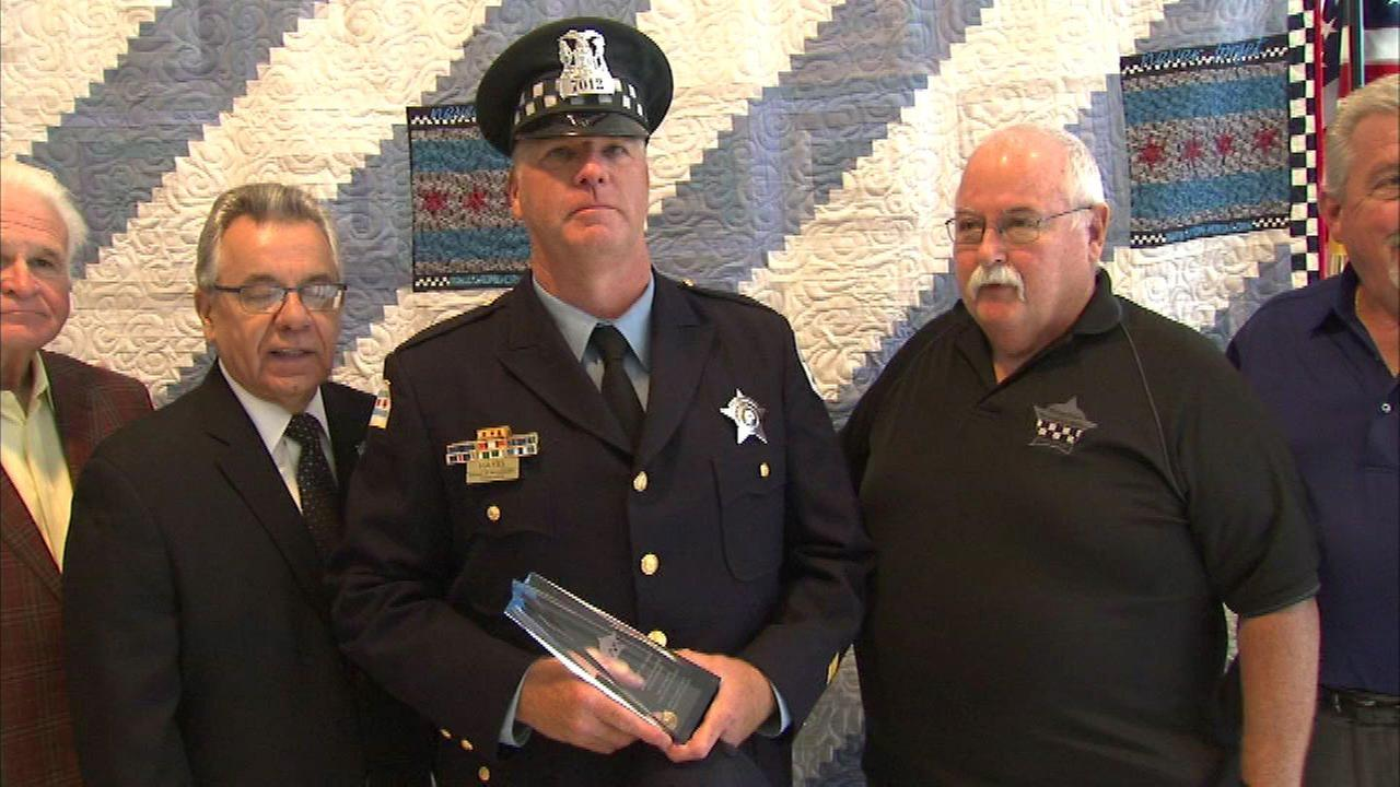 The Chicago Police Memorial Foundation honored Officer Sean Hayes Wednesday as Septembers Officer of the Month.