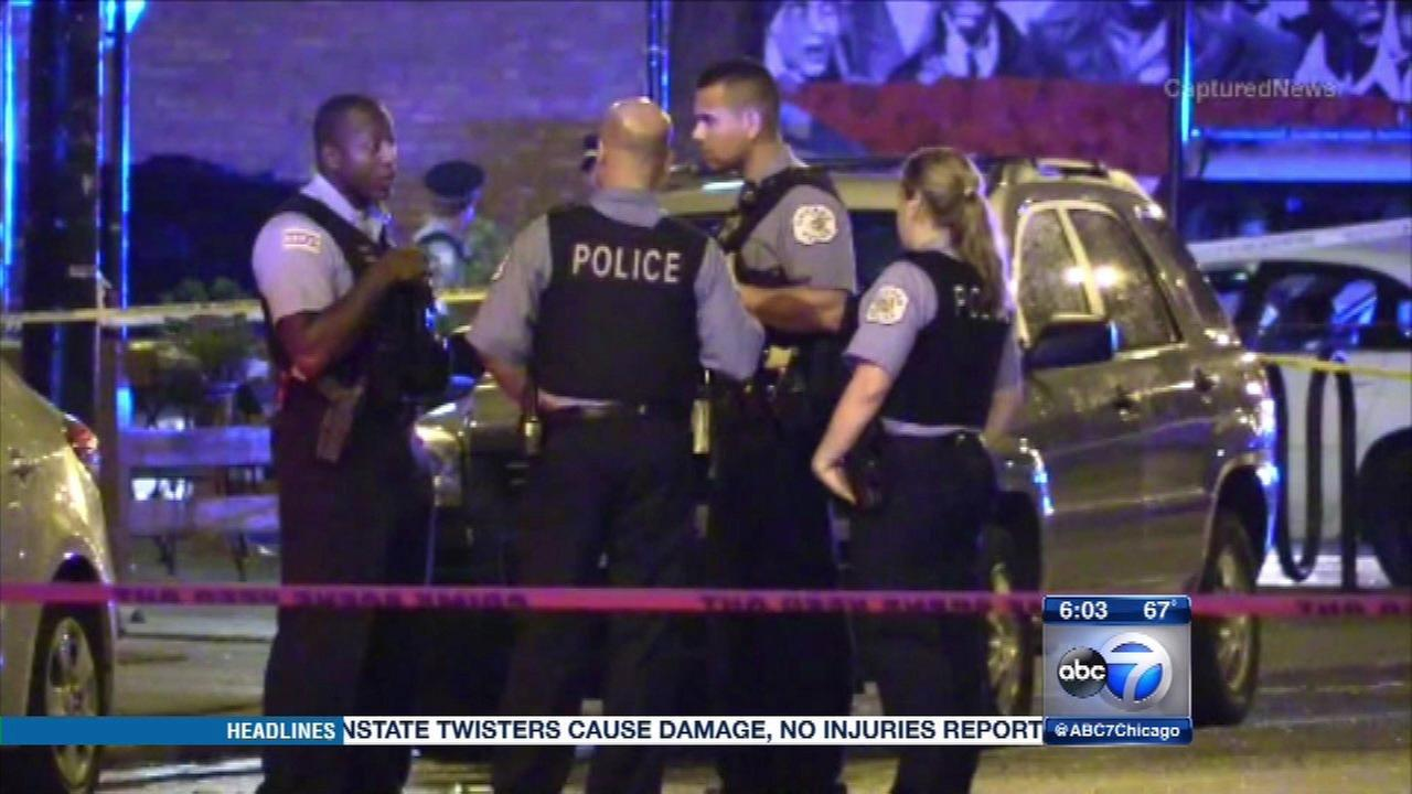 Chicago police on the scene of an officer-involved shooting in the Humboldt Park neighborhood.