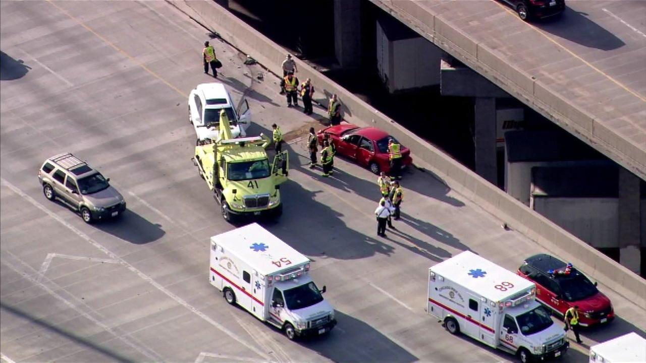 Six people were injured in a crash on the inbound Stevenson Expressway at Damen on Chicagos Near West Side.