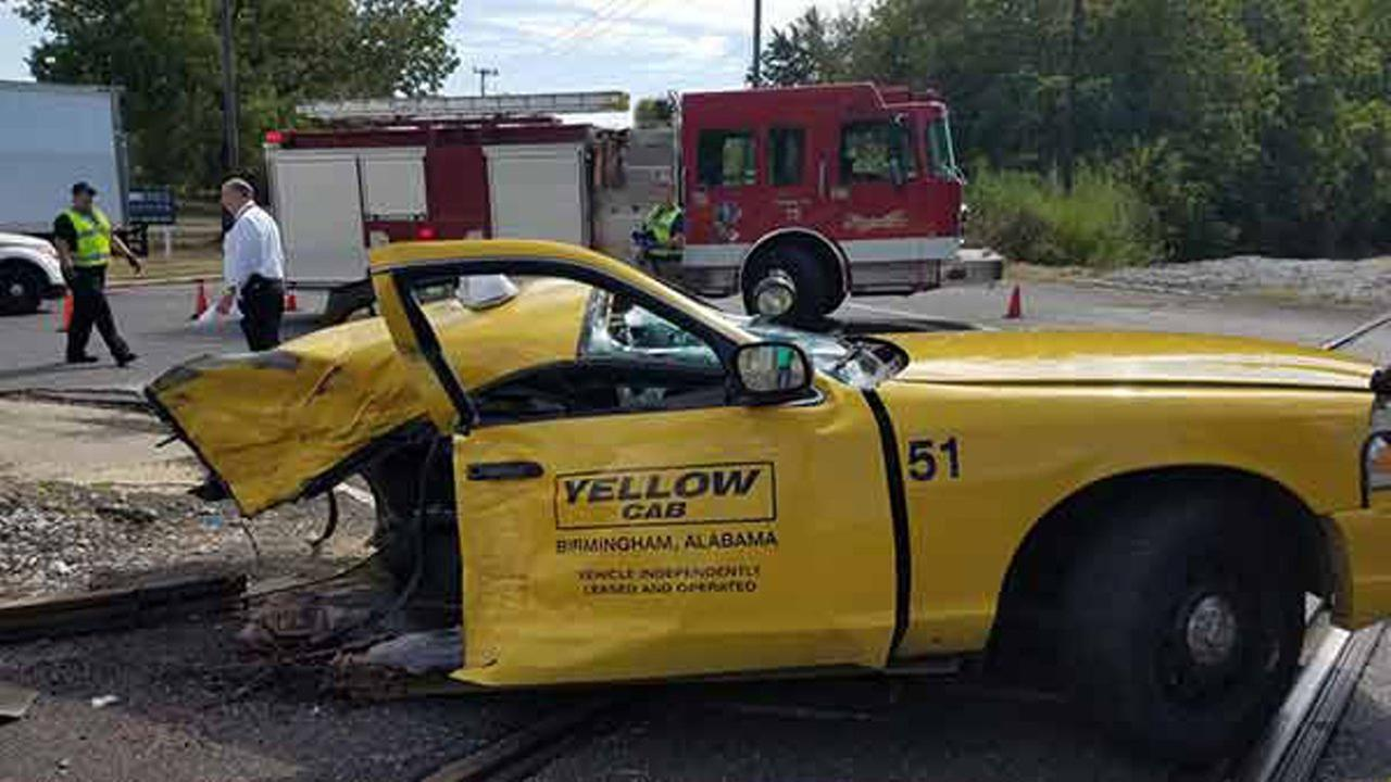 A Yellow Cab was sliced in half when it was struck by an Amtrak train in southwest Birmingham on September 12, 2016.