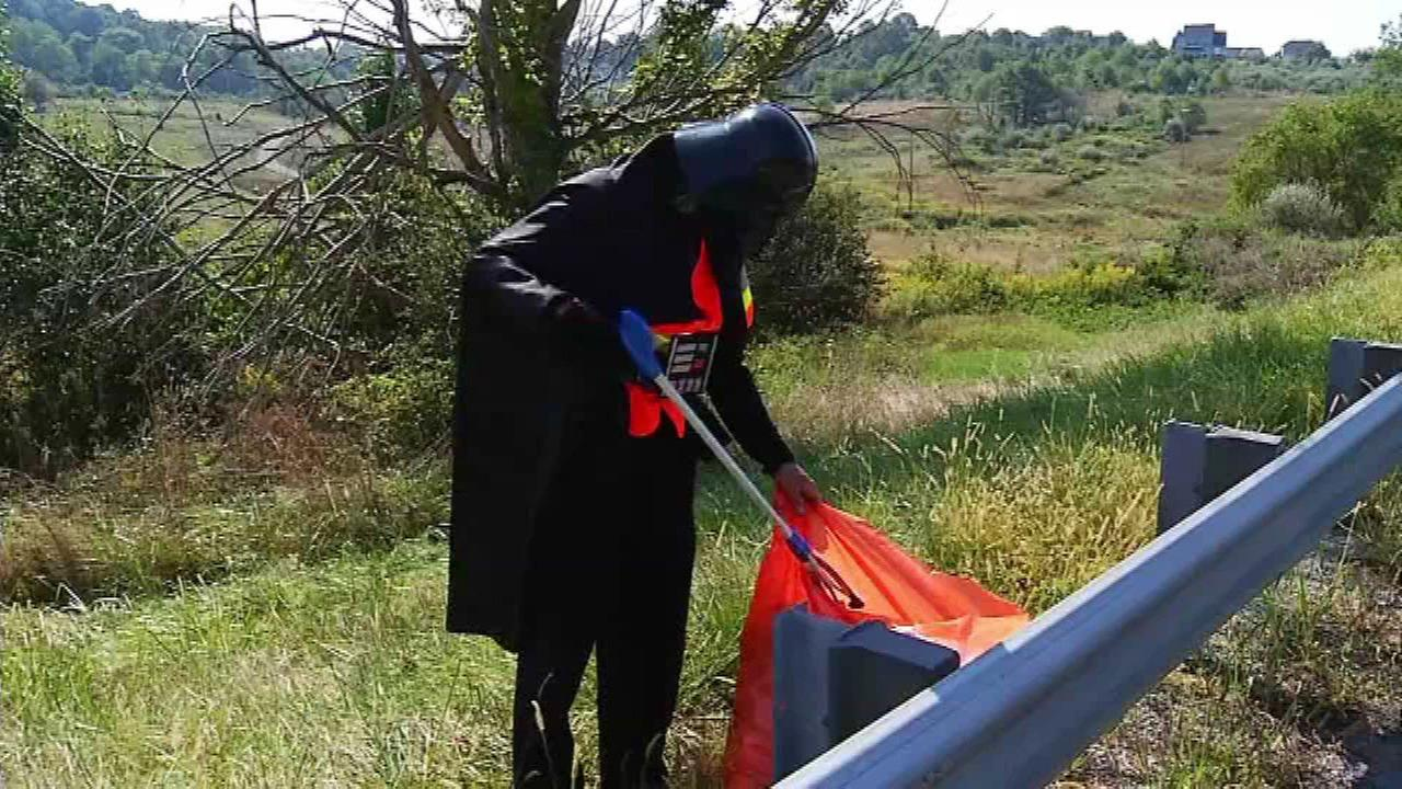 Darth Vader picking up trash along a Virginia highway.