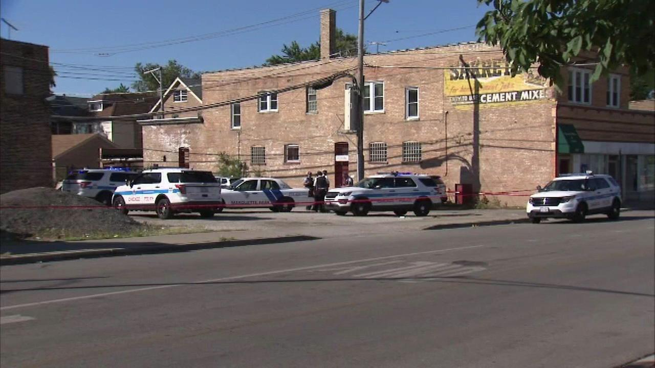 Chicago police investigate after three people were shot in the 6900-block of Western Avenue.
