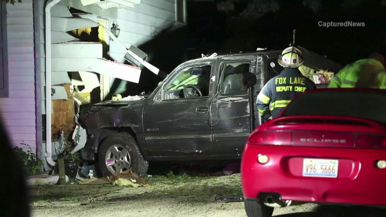 No one was injured after a pick-up crashed into a Round Lake house.