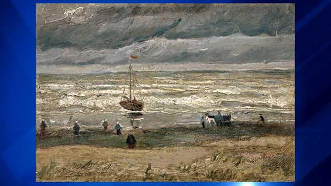 In this image provided by the Van Gogh Museum in Amsterdam, the painting of the View of the Sea at Scheveningen by the artist Vincent Van Gogh.