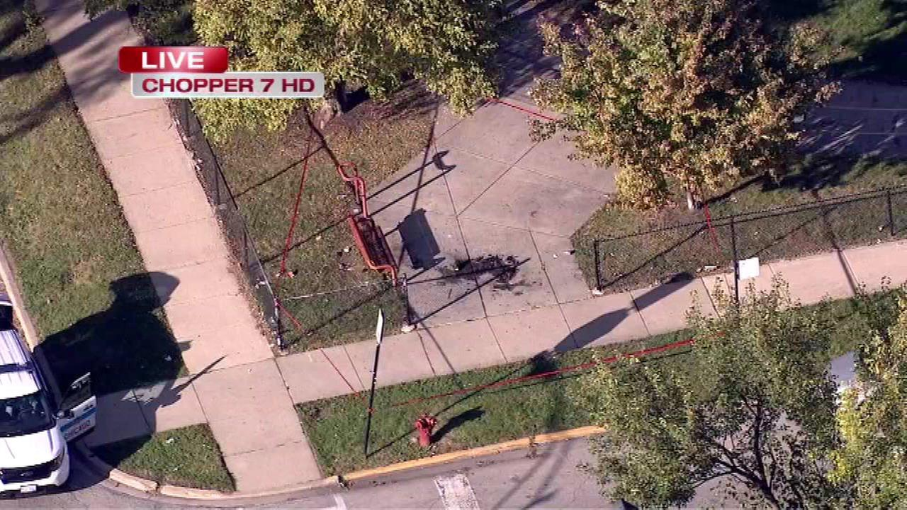 An 11-year old boy suffered burns on his legs after riding his bicycle through some items that were set on fire on Chicagos South Side.