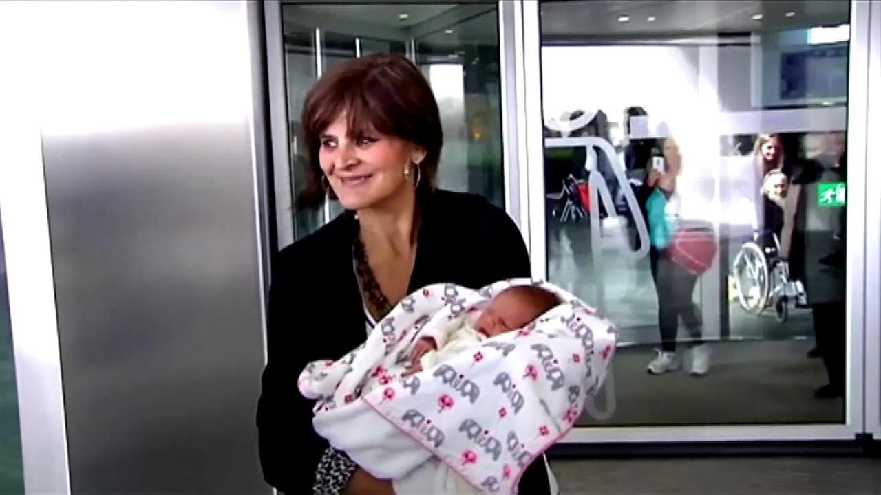 Lina Alvarez left the Lucus Augusti Hospital in the northwestern city of Lugo on Tuesday with her third child in her arms, saying she felt wonderful.