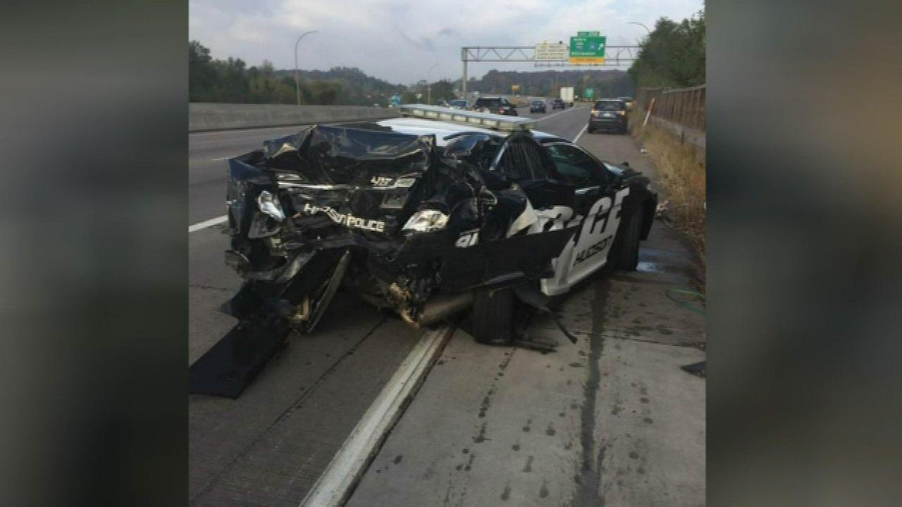 Police squad car smashed by truck on I-94 in Wisconsin