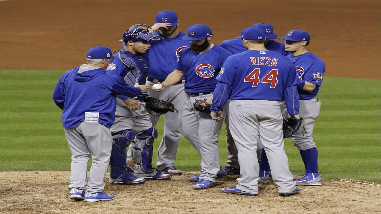 Chicago Cubs starting pitcher Jake Arrieta is pulled from the game during the seventh inning of Game 6 of the Major League Baseball World Series against the Cleveland Indians Tuesday, Nov. 1, 2016, in Cleveland. AP Photo/Gene J. Puskar