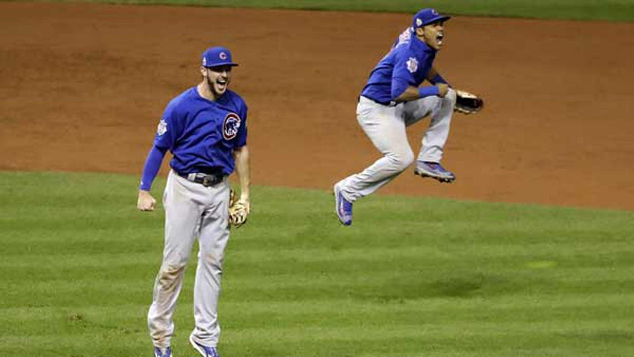 Chicago Cubs Kris Bryant, left, and Addison Russell celebrate after Game 7 of the Major League Baseball World Series against the Cleveland Indians Thursday, Nov. 3, 2016.AP Photo/David J. Phillip