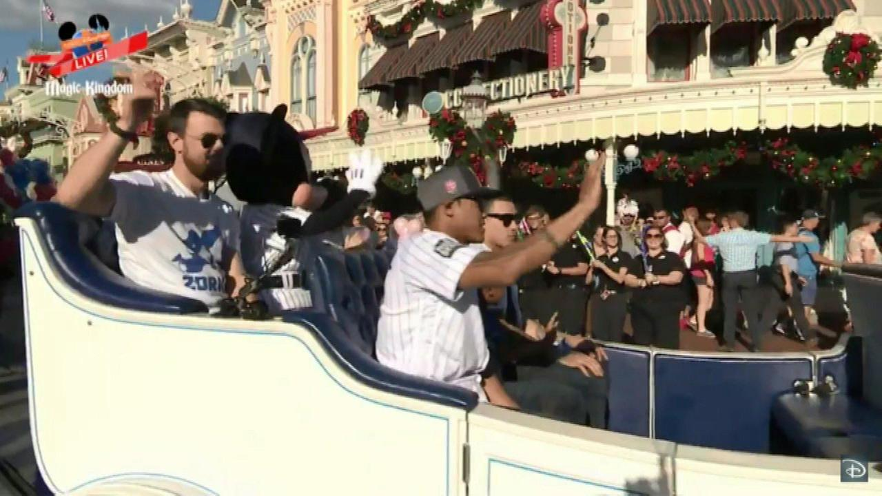 Cubs players celebrate in Disney World