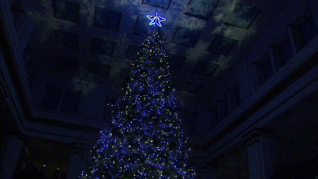 The Christmas tree inside the Walnut Room at the Macys on State Street.