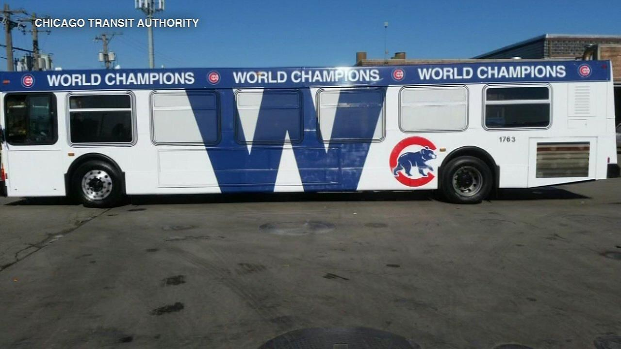 CTA honors Cubs with decorated bus, Red Line cars