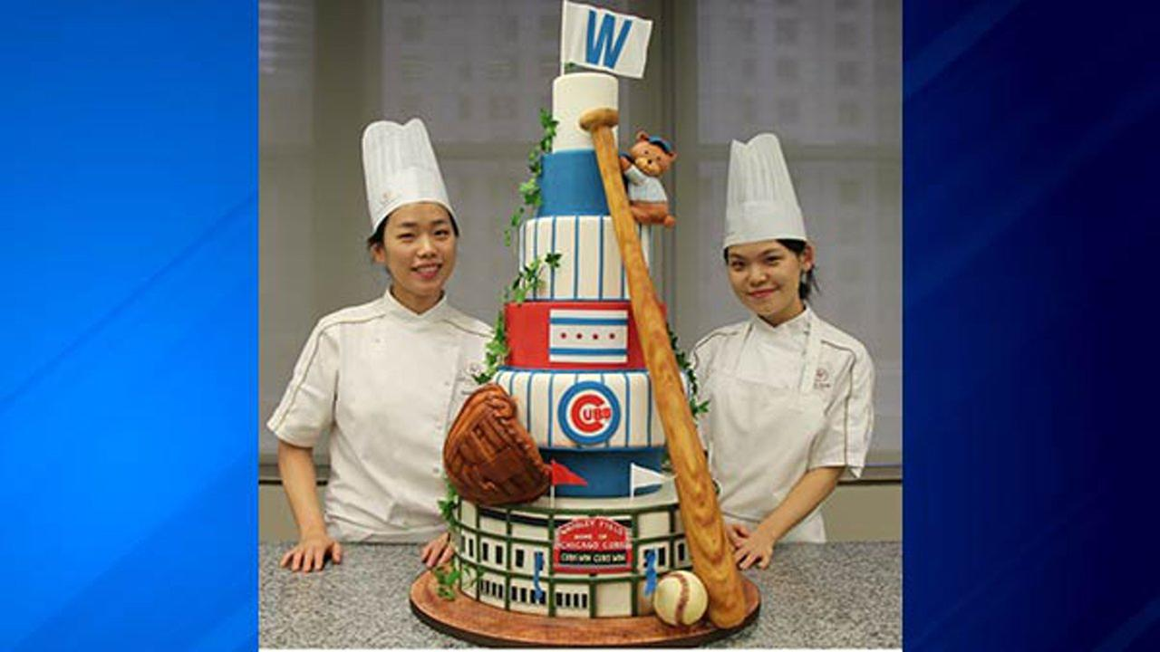 Two cake artists spent 200 hours working on the confection that pays tribute to the Cubs and Wrigley Field.
