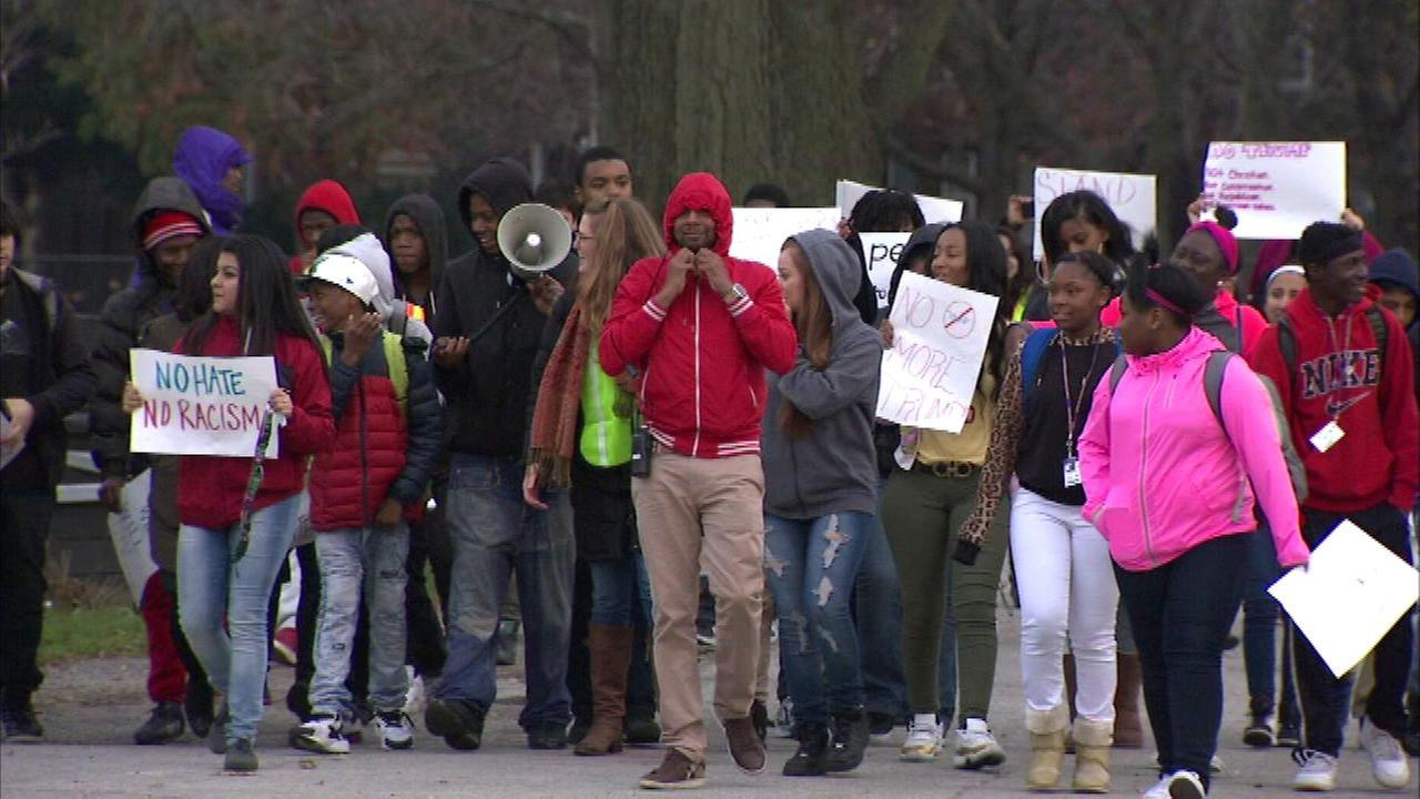 Students walk out of Bowen High School to protest hate