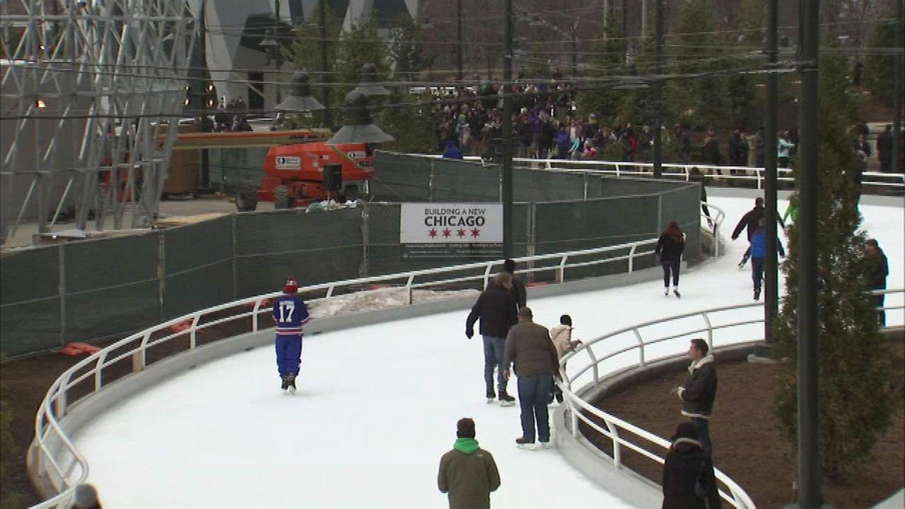 The ice skating ribbon at Maggie Daley Park.