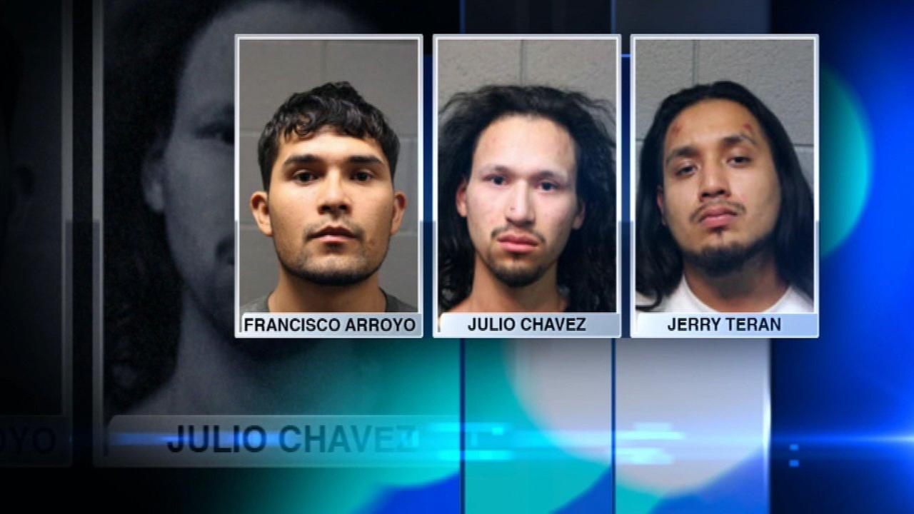 Three men were charged with stabbing and robbing a homeless man in the South Loop.