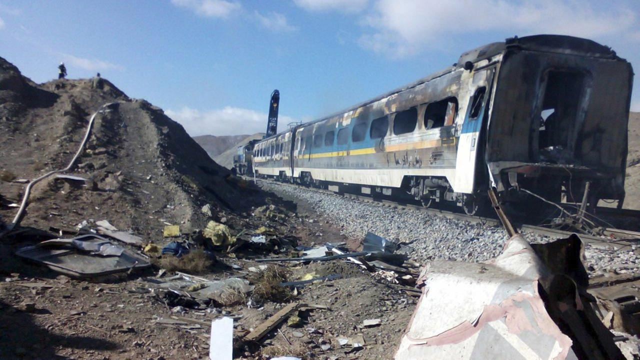 This picture released by Iranian Fars News Agency shows the scene of two trains collision about 150 miles (250 kilometers) east of the capital Tehran.