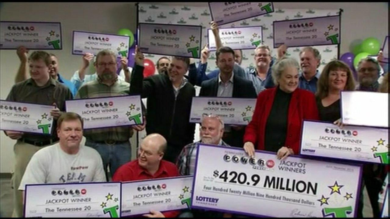 Powerball jackpot of nearly $421M to be split by 20 Tennessee co-workers