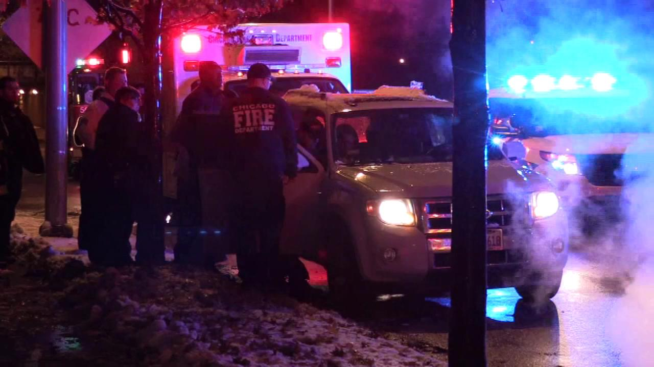 Three people were hurt after a crash in Elmwood Park.