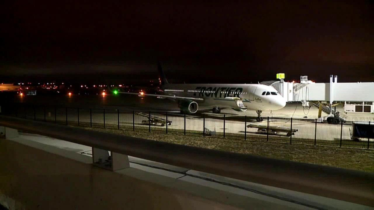 A Frontier Airlines flight from Chicago to Florida in Indianapolis after being diverted because of a fuel issue.