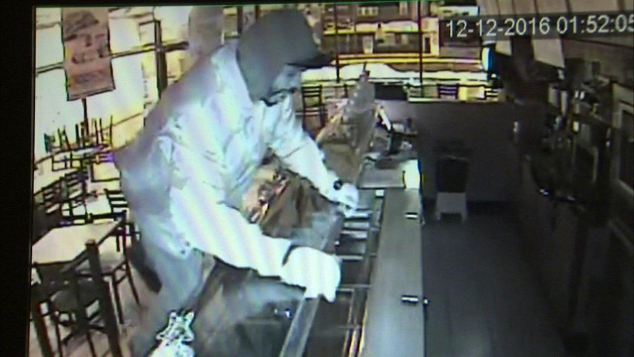Surveillance image of a suspect in a burglary at a Subway in McKinley Park.