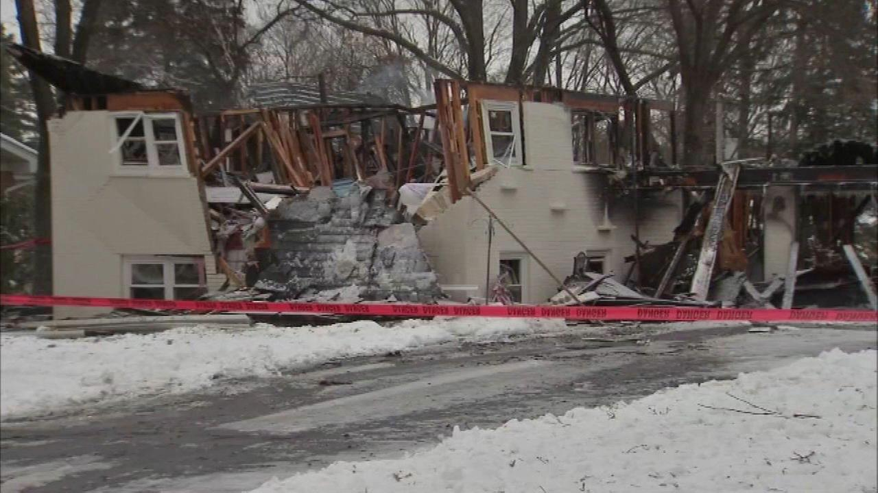 An explosion destroyed a home in Homer Glen on Thursday.