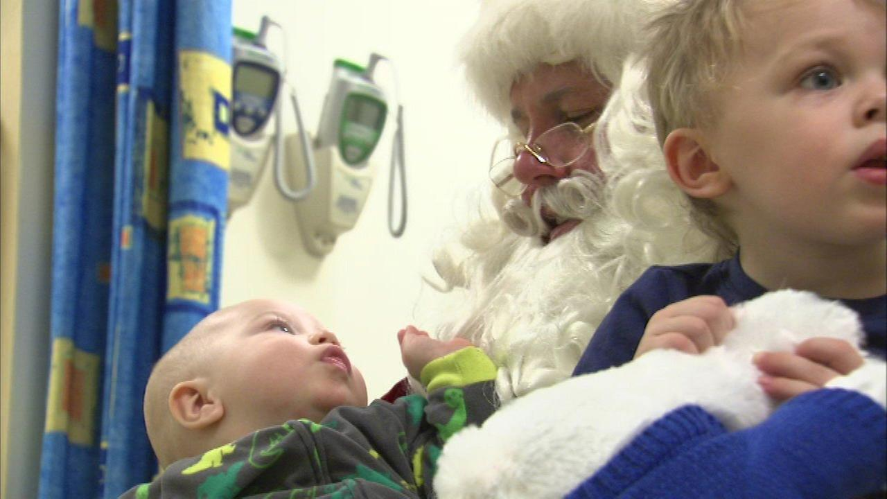 Santa visited children at Loyola University Medical Center on Tuesday.