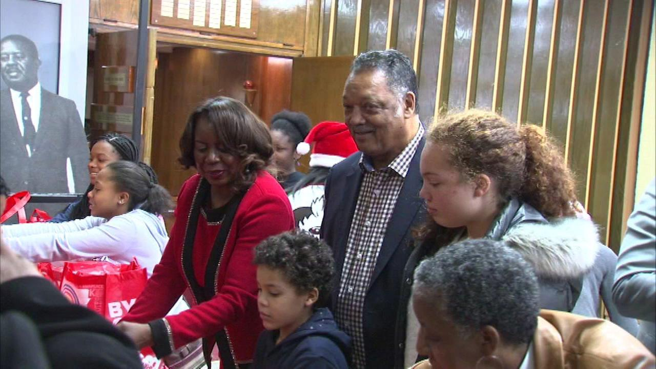 Rainbow PUSH founder and President Rev. Jesse Jackson at the organizations Christmas basket giveaway.