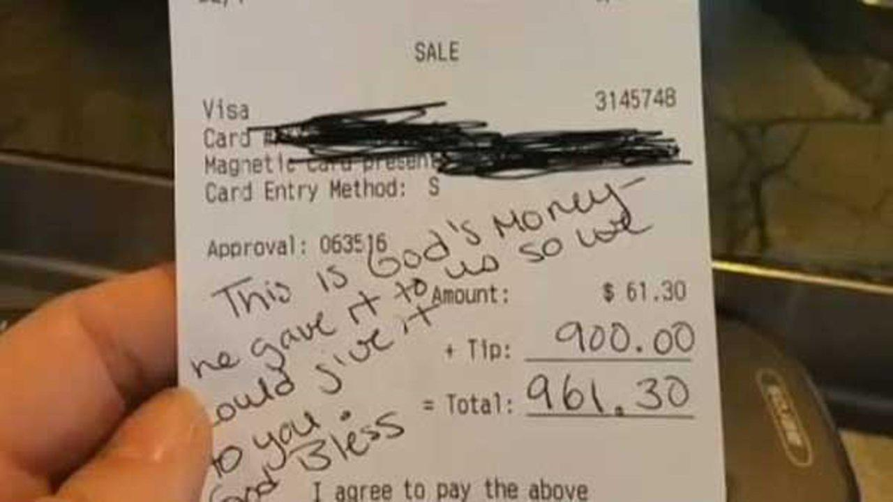 A server and bartender at a restaurant in Phoenix, Arizona, got a shocking - but pleasant - surprise from a customer earlier this month: a $900 tip.