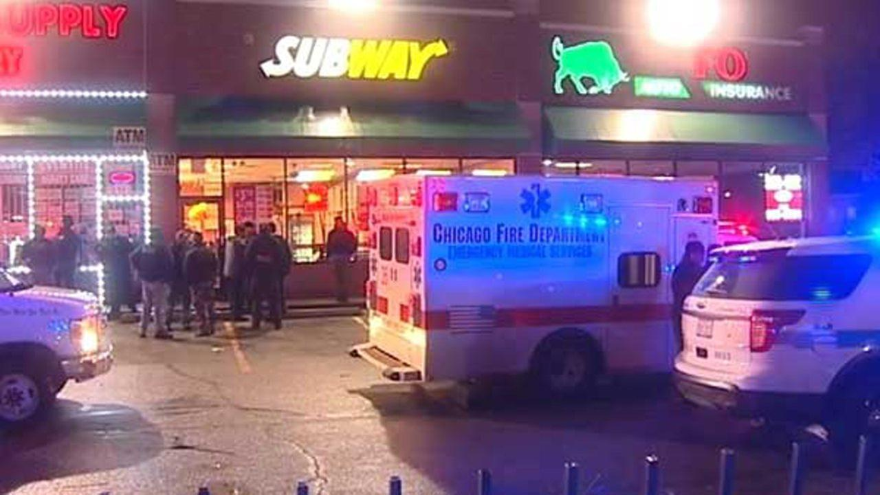 Authorities investigate after a triple shooting at a Chatham Subway restaurant on Tuesday night. | Network Video Productions