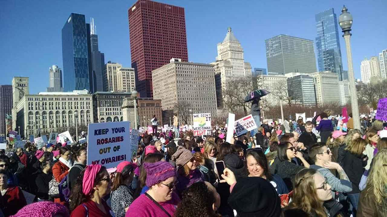 Womens March on Chicago in Grant Park on January 21, 2017.