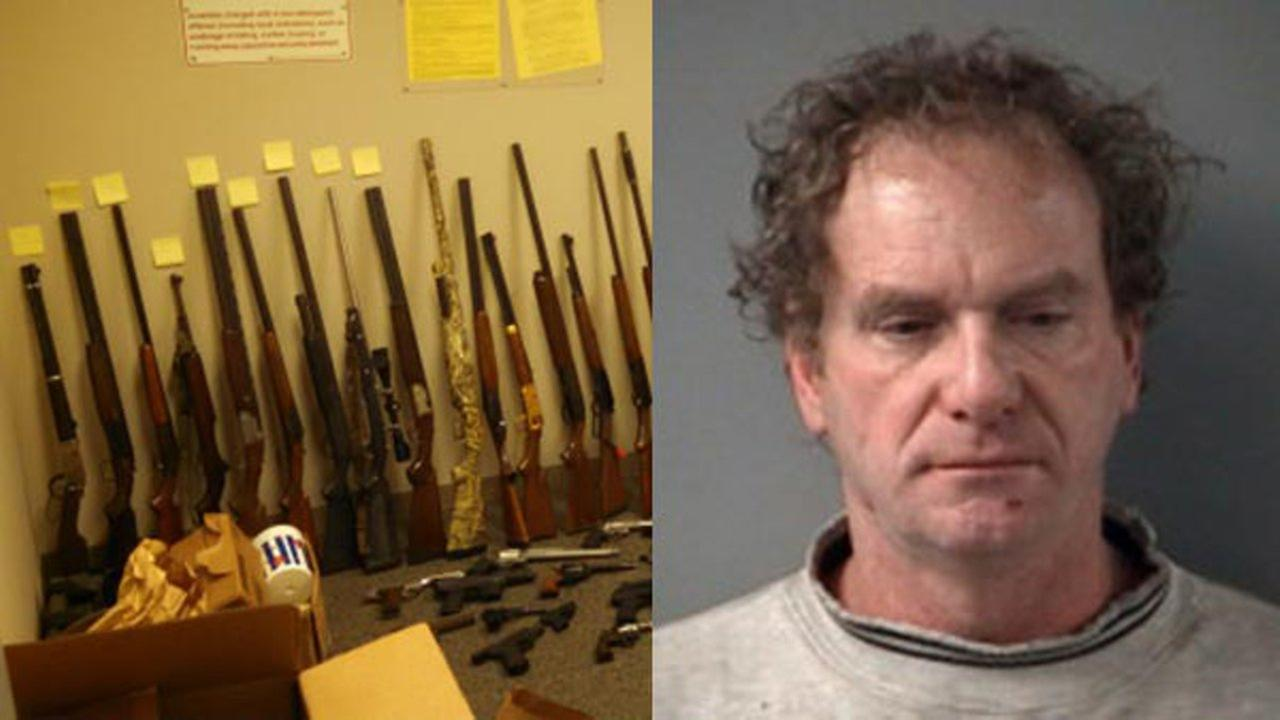 Police said more than 50 high-power rifles, assault rifles, shotguns and handguns were found during a search of 50-year-old Donald F. Franzs home last week.