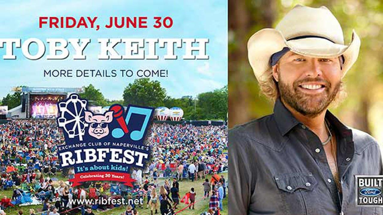 Toby Keith to perform at Naperville Ribfest