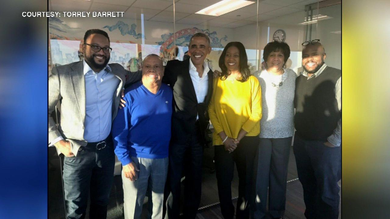 Barack Obama in Chicago for 1st time since leaving office