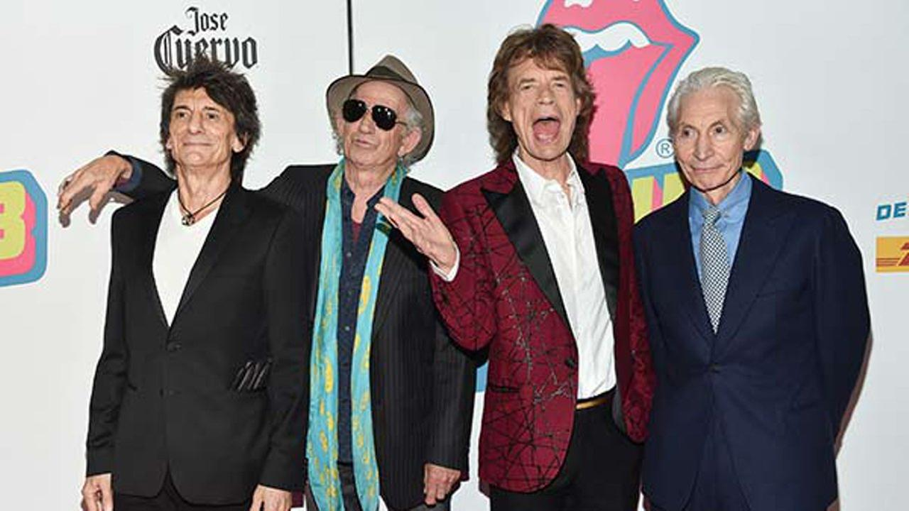 The Rolling Stones, from left, Ronnie Wood, Keith Richards, Mick Jagger and Charlie Watts attend the opening night party for Exhibitionism at Industria on Tuesday, Nov. 15, 2016.