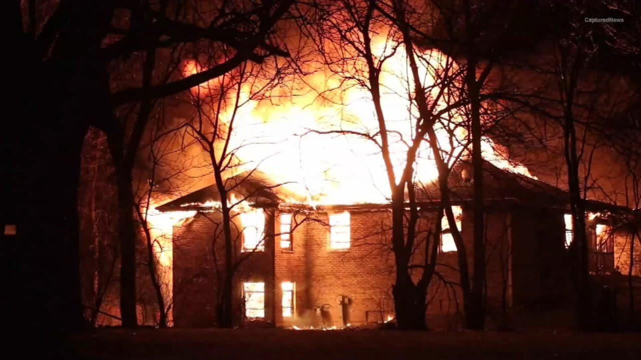 A massive fire destroys a home in northwest suburban Crystal Lake.