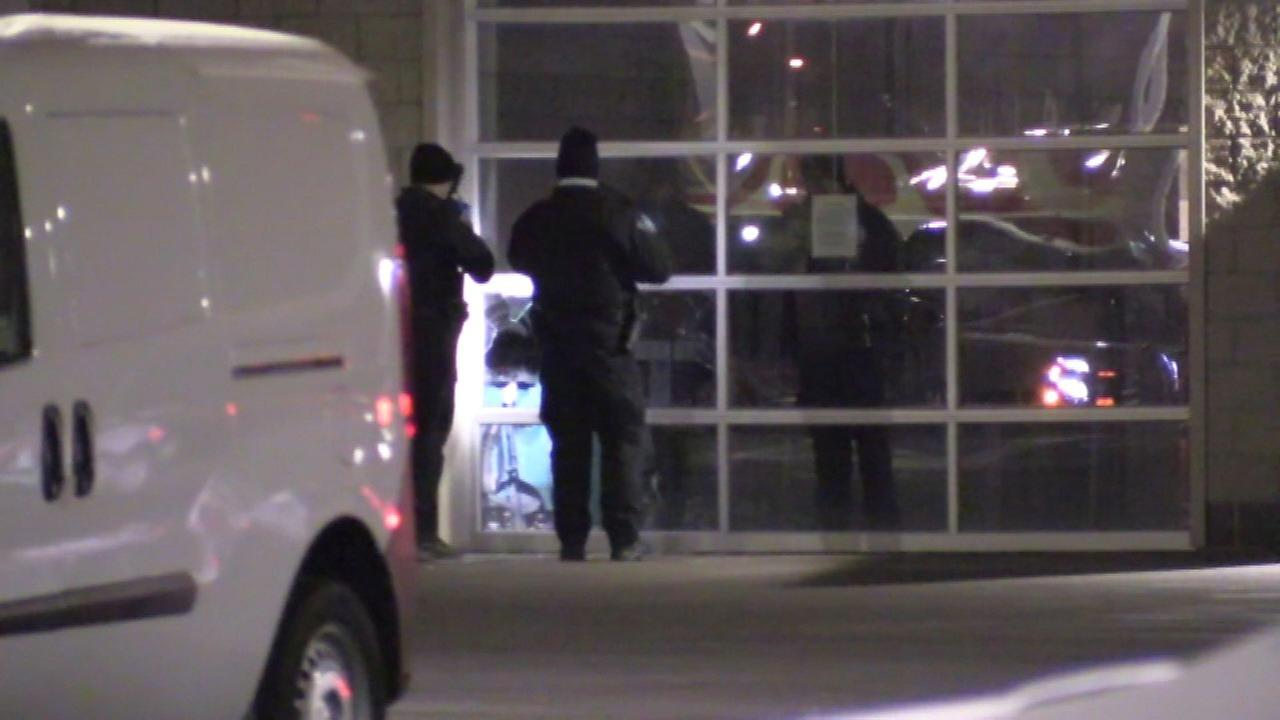 Police investigate an apparent break-in at a car dealership in south suburban Tinley Park.