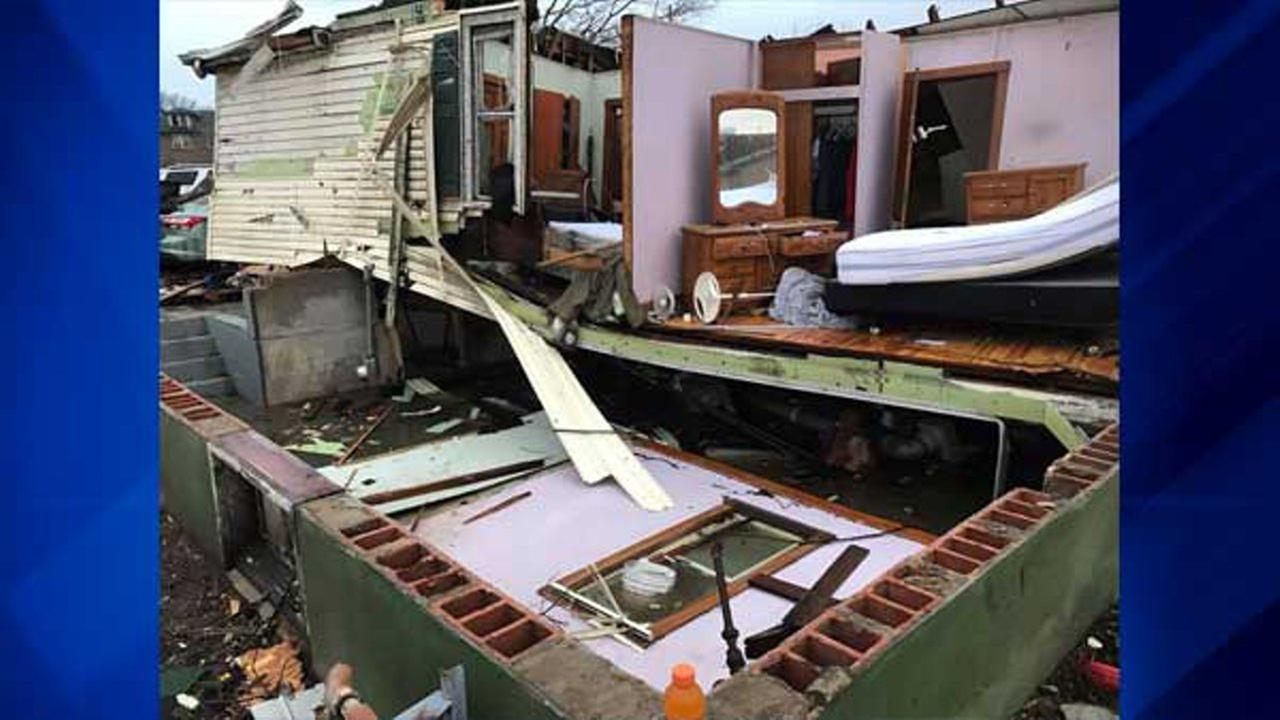 ABC7 viewer Mike Small shared a Facebook photo of his sisters home in Naplate, Ill., which was destroyed Tuesday night. He said she hid in a closet behind her dresser during the storm. Mike Small | Facebook