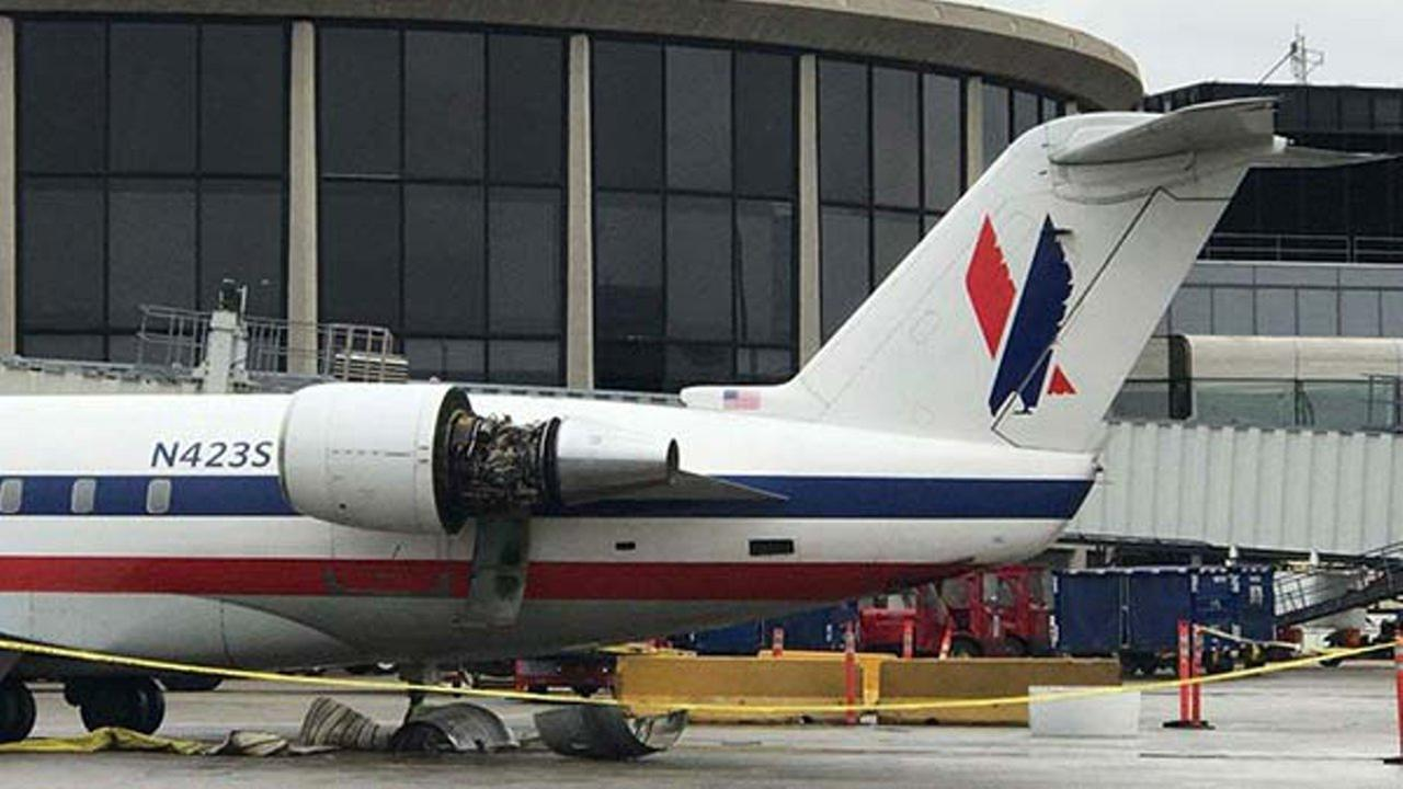 Pictures from the ground show the engine on a SkyWest plane clearly missing part of its cover. The airline said the plane has been removed from service.