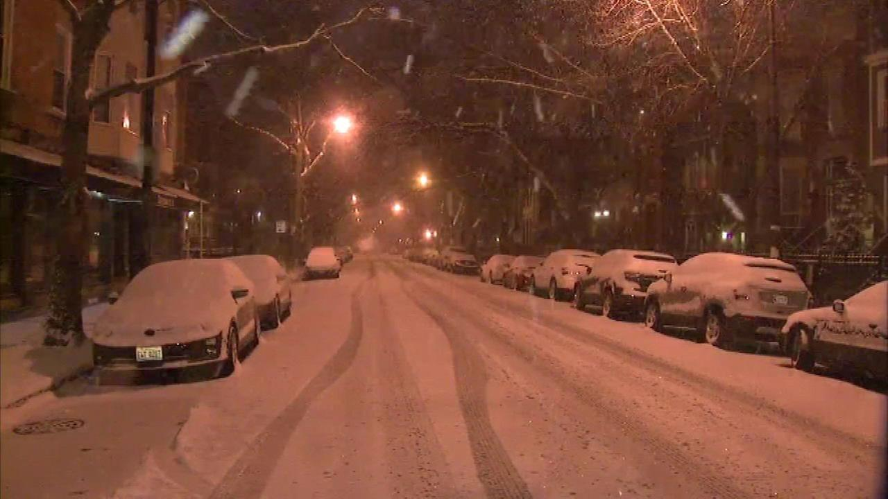 Snow blanketed the Chicago area Monday, making roads slick and leading to hundreds of flight cancellations at the citys airports.