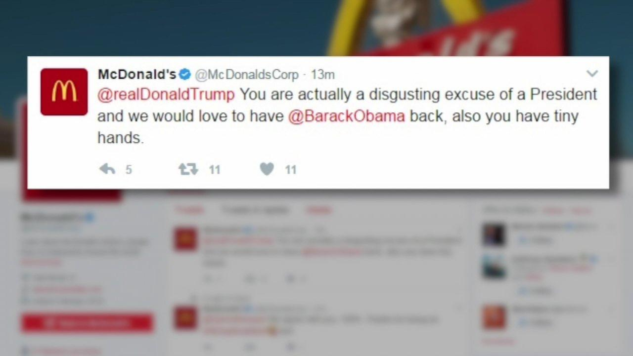 Hacked McDonald's account tweets to Trump: 'You are actually a disgusting excuse of a President'