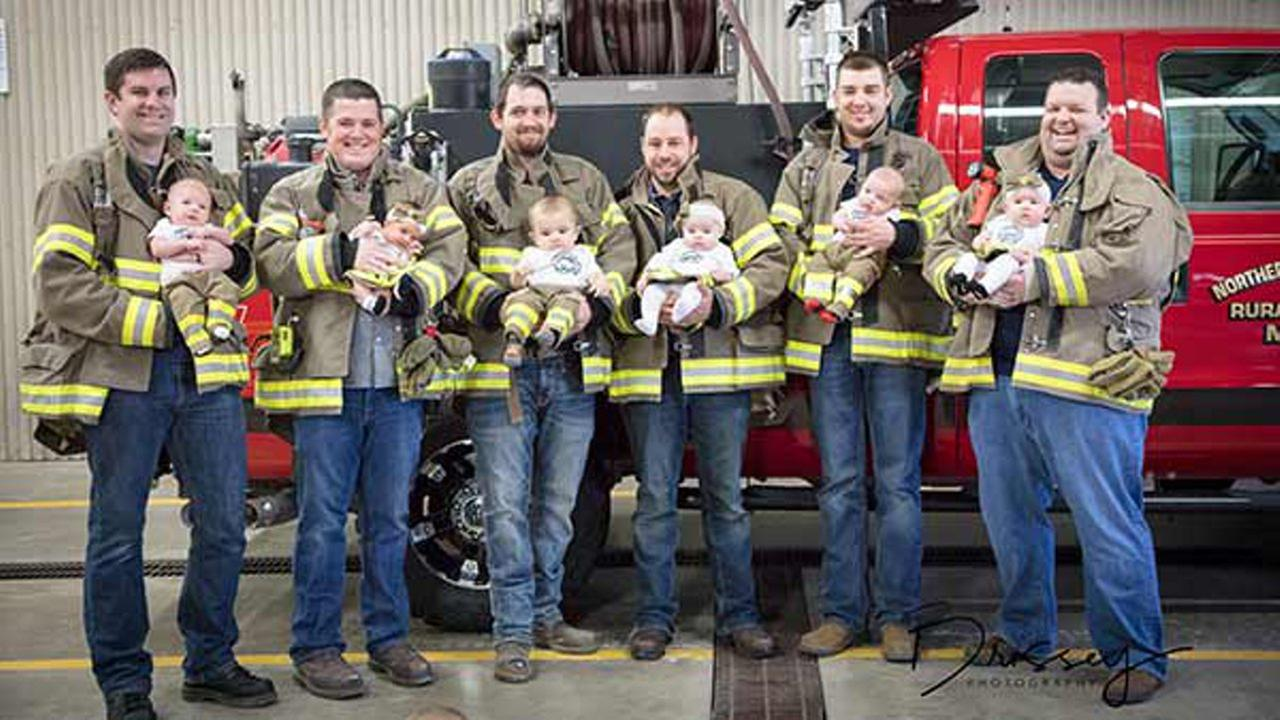 Six babies were born to the same firefighting family within seven months, three girls and three boys.