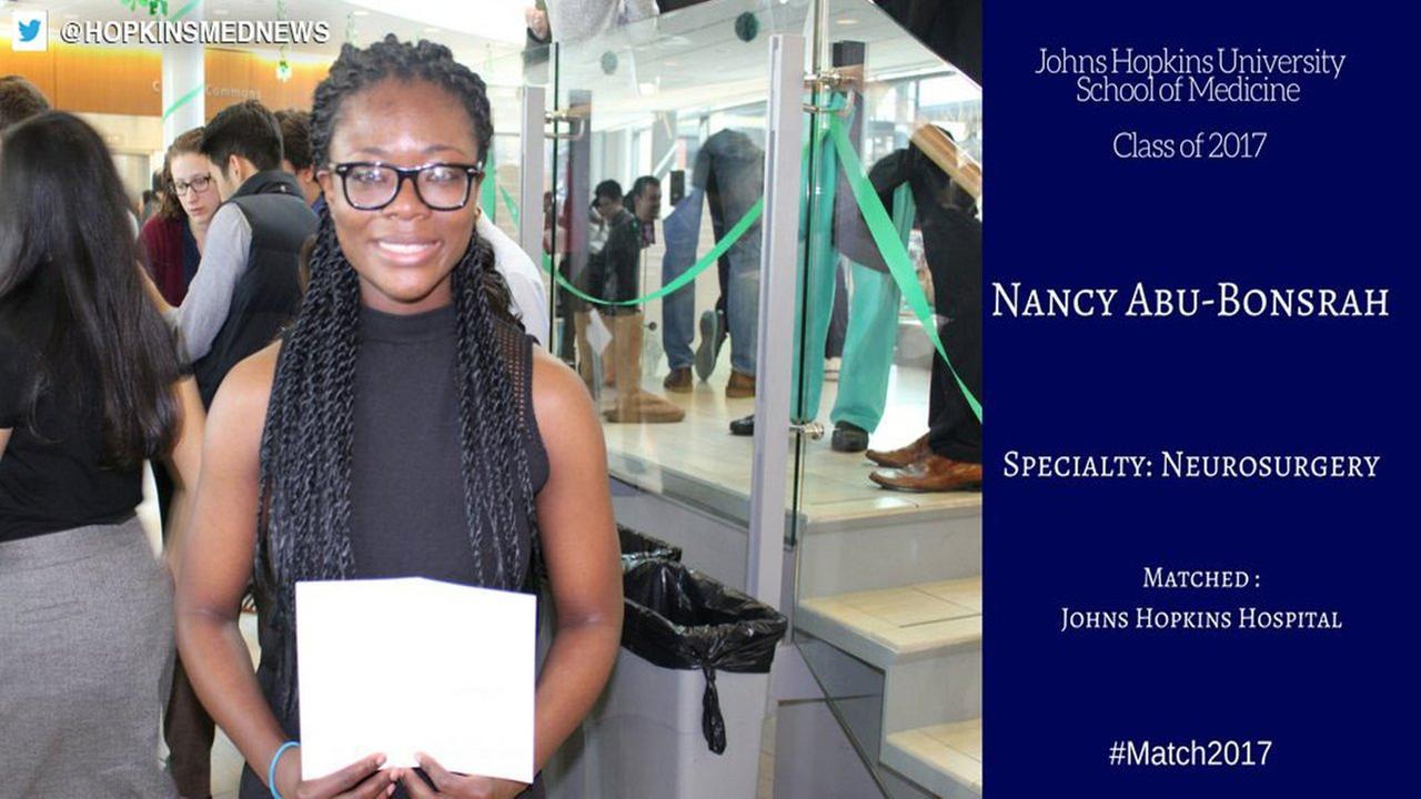 Johns Hopkins accepts 1st black female neurosurgeon resident