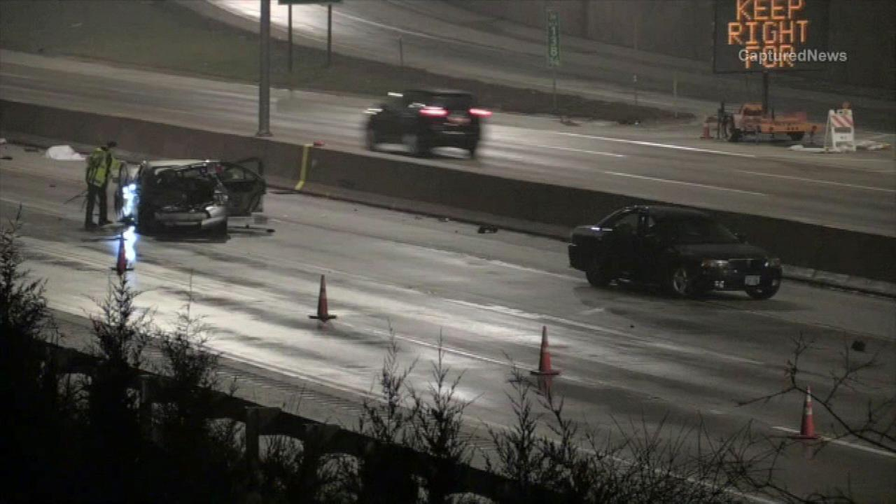 Police investigate a fatal crash on I-88 in Oak Brook.