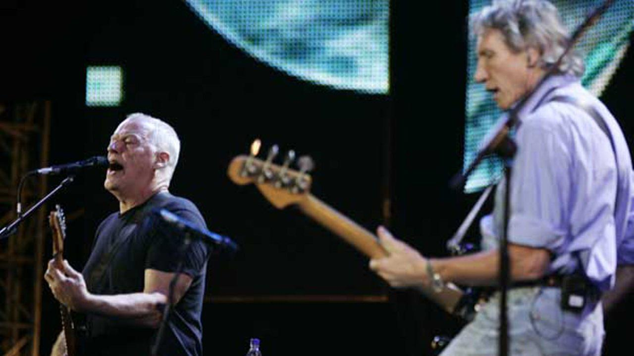 Pink Floyds Dave Gilmore, left, and Roger Waters perform at the Live 8 concert in Hyde Park, London, Saturday July 2, 2005.