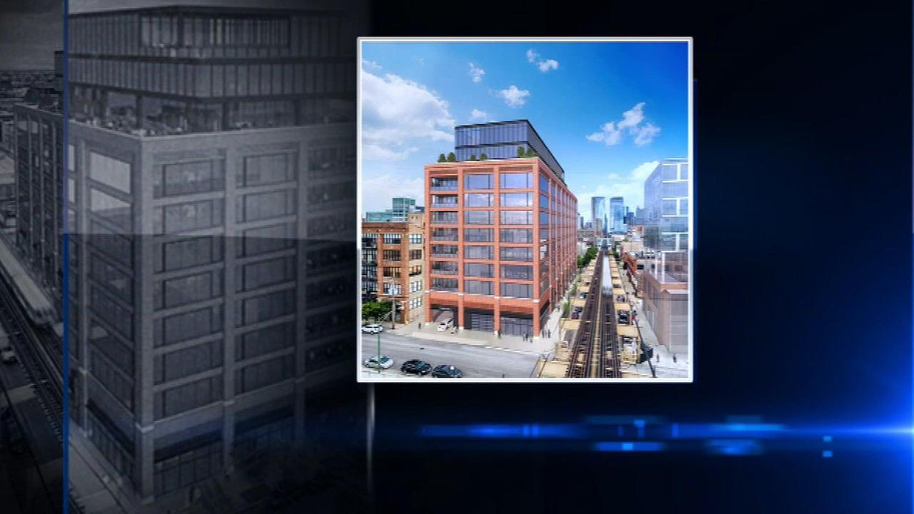 A rendering of a new office building under construction at 210 N. Carpenter.
