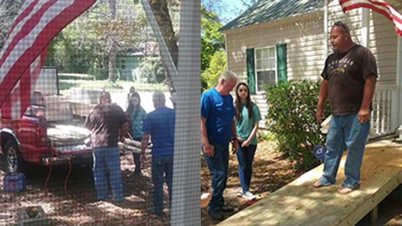 A stranger stopped to help an amputee get into his home after he was released from the hospital, then returned to build him a wheelchair ramp.